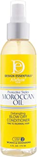 Design Essentials Protective Styles Moroccan Oil Detangling Blow-Dry Conditioner - Great for Virgin Hair Extensions, Weaves & Wigs - 6 Oz