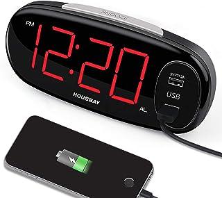 """ساعت زنگ دار دیجیتال HOUSBAY با شارژر USB USB ، بدون تنظیمات ساده Frills ، تعویق آسان ، 6.5 """"ساعت بزرگ زنگ دار LED بزرگ برای اتاق های خواب با دیمر ، پریز برق."""
