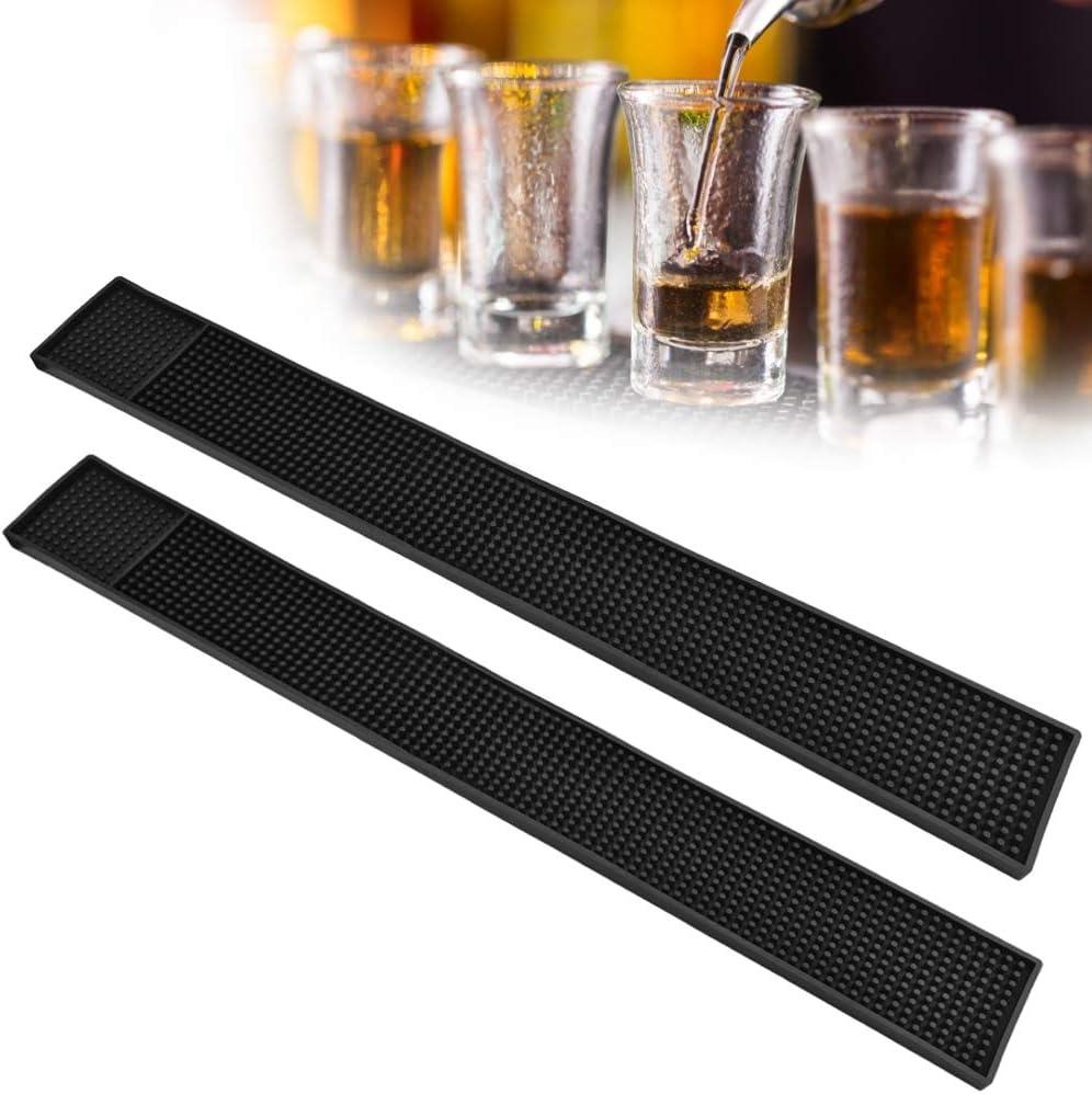 FAVENGO 2 Pcs Tapete Escurridor para Bar 60x8cm Tapete para Vasos Barra Tapetes Bar Alfombra para Bar Tapetes Negro para Barra Bares para Vasos Bebidas Escurrir el Agua, Cocina y Bar, Antideslizante