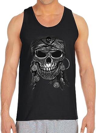 09a0f38a Men's PIRATE SKULL Black Tank Top