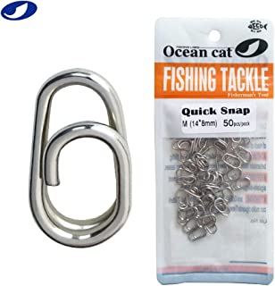 OCEAN CAT Fast Snaps Clip High Carbon Stainless Steel Power Clips On Fishing Clips Connector Easy&Quick Change Lure Snaps for Freshwater Saltwater Kayak Drifting Fishing
