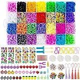 Wodasi DIY Pulseras Gomas, Gomas para Pulseras de Colores 28 Colores, Gomas para Hacer Pulseras, Pulseras Gomas de Goma DIY, Kit de Pulseras de Goma con Muchos Pequeños Accesorios(10000)