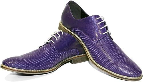 Modello Brindisi - Cuero Italiano Hecho A Mano Hombre Piel Color púrpura zapatos Vestir Oxfords - Cuero Cuero Repujado - Encaje