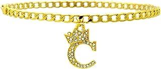نساء بنات أزياء الملك تاج الحرف الأول سحر 4 ملم 10 بوصة شقة سلسلة الكوبية خلخال الكاحل سوار