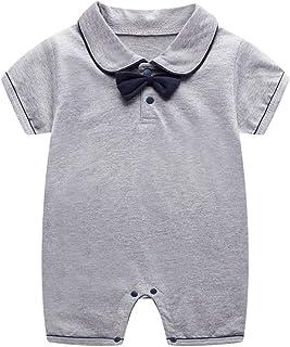 Mameluco Polo con Pajarita para Bebé Niño Mono de Manga Corta Body de Algodón Peleles Pijama de Verano, 3-6 Meses