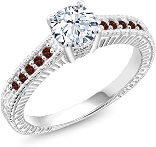 Gem Stone King White Created Sapphire and Red Garnet 925 Sterling Silver Women's Ring (1.40 Cttw Available 5,6,7,8,9)