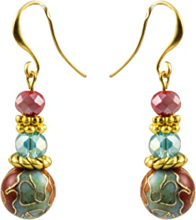 Japanese Cloisonne Flower Bead and Faceted Blue and Red Beads That Dangle Fish-Wire Earrings