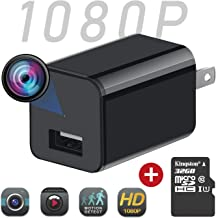 sherry Mini Spy Camera Security Charger Camera Full HD Hidden Camera Charger with 32G SD Card USB Charger Camera Loop Recording Nanny Outlet Cam for Home and Office