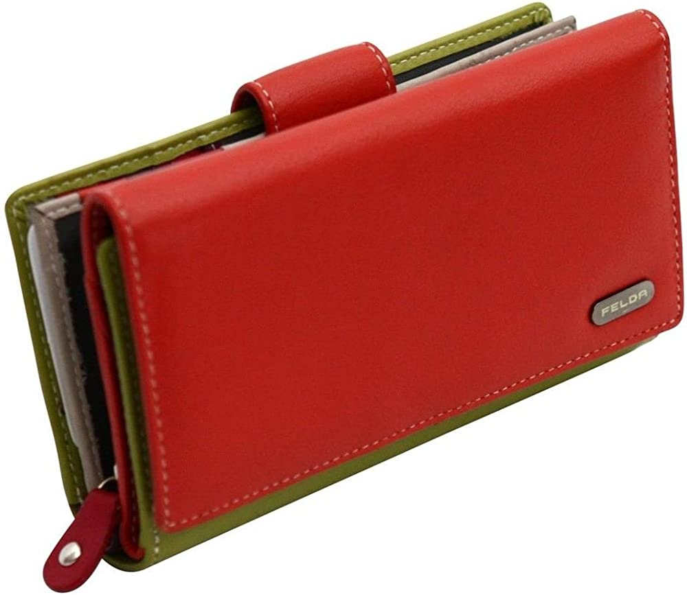 Felda, portafoglio, porta carte di credito con protezione rfid, in vera pelle, per donna, arancione 16-104 Orange Multi