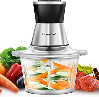 Food Chopper, AMZCHEF Electric Meat Chopper with Fast and Slow Speeds Control, Safety Function, 1.8L BAP-free Glass Bowl, ...