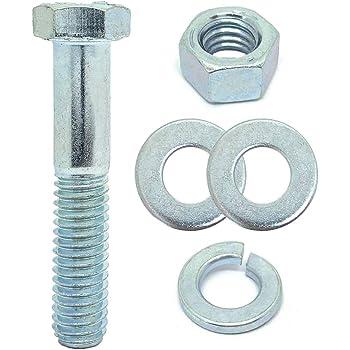 5//16-18x2 Grade 8 Hex Cap Bolts Screws 10 Sets Nuts Flat /& Lock Washers Yellow