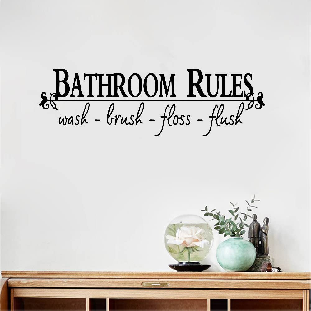 Amieo Wall Decal Sticker Art Mural Home Decor Quote Bathroom Rules Quotes Wall Stickers Home Decoration Diy Adesivo De Parede Removable Vinyl Decals Mural Art Home Kitchen
