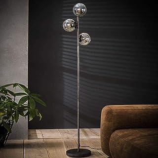 famlights Lisa Lampadaire en métal et verre Argenté 3 x E27 170 cm Design industriel Lampe sur pied pour salon, salle à ma...