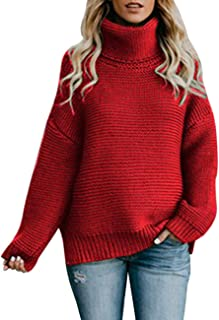 Sweaters for Women Plus Size Turtleneck Long Sleeve Soft Knitted Pullover Jumper Tops