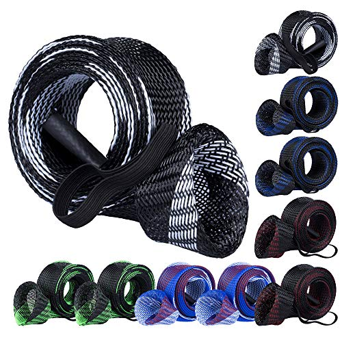 Bombrooster Fishing Rod Protector- Braided Mesh Rod Covers, Fishing Pole Sleeves 10 Pcs with Lanyard