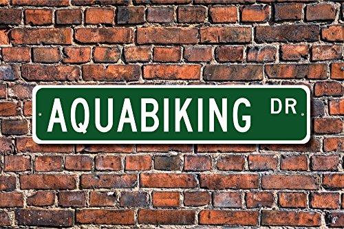 Aersing Stree Deko Schilder aquabiking Geschenk Schild aquabiking Fan Unterwasser Spinning Biking Lover Metall Wandschild Funny 10x 45cm