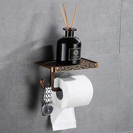Hoomtaook Derouleur Papier Toilette Porte Papier toilette Mural Support Papier Toilettes Couleur Porte-Papier Toilette Porte Bronze D'or