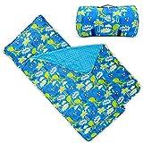 Bambino Bliss Kids Nap Mat with Removable Pillow - Soft, Lightweight Mats, Easy Clean Toddler Nap Pad for Preschool, Daycare, Kindergarten - Children Sleeping Bag (Dinosaur)
