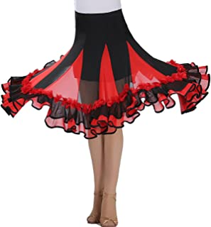 Whitewed Square Ballroom Latin Dancing Ddance Practice Wear Costume Half Skirts