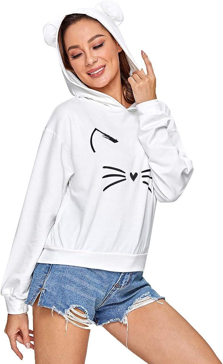 Romwe Women's Cat Print Sweatshirt Long Sleeve Loose Casual Hoodies Pullover Shirt Top