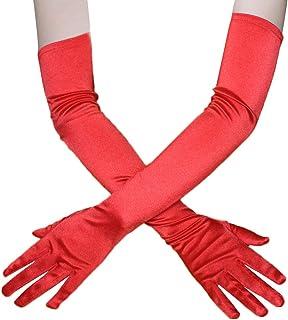 Satin Elbow Length Bridal Gloves Wedding Fancy Dress Prom Opera Gloves for Women,Red