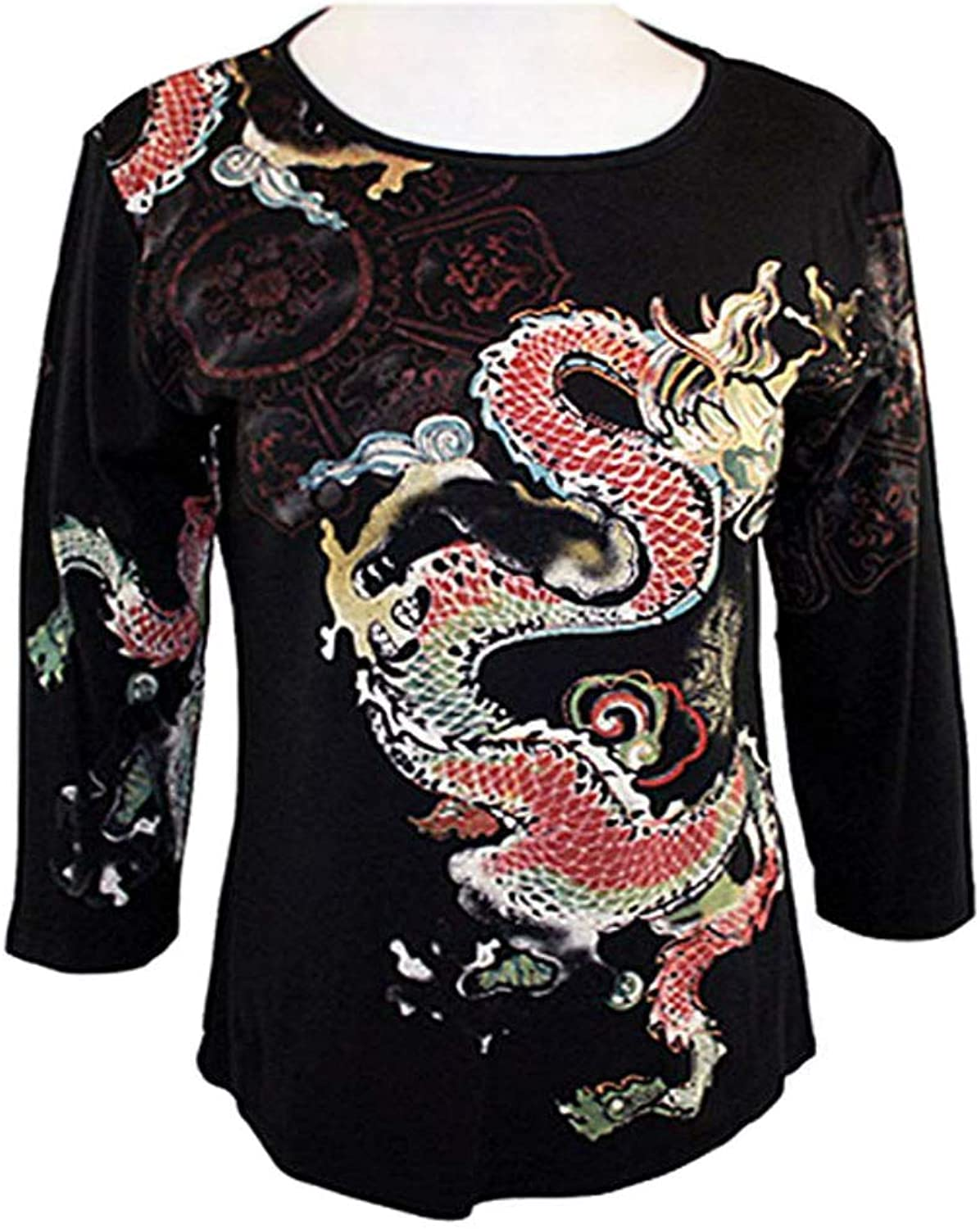 Katina Marie  Rainbow Dragon 3 4 Sleeve, Rhinestone Studded, PreWashed, Printed Cotton, Scoop Neck Black Top
