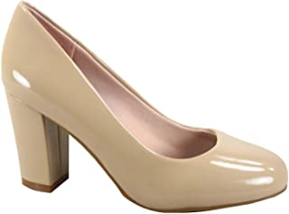 FZ-Songful-5 Women's Classic Patent Round Toe High Chunky Heel Dress Pumps Shoes