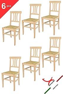 Tommychairs sillas de Design - Set 6 sillas Artemisia de Cocina Comedor, Bar y Restaurante, de Estilo Clasico, con Estructura en Madera de Haya lijada, no tratada, 100% Natural y Asiento en Paja