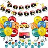 REYOK Pokemon Décoration De Fête, 43 Pièces Pokemon Thème Dessin Animé Fête Pokemon Kit de Fête d'anniversaire pour Enfants y Compris - Ballons, Bannières, Décorations de Gâteaux