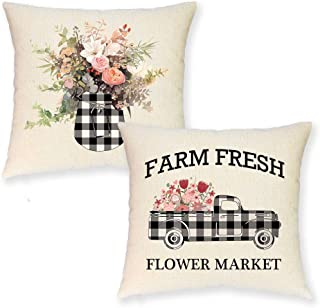 JYNHOOR Set of 2 Farmhouse Spring Throw Pillow Covers –18x18 Inch Buffalo Plaid Farmhouse Truck Farm Fresh Flower Summer Pillow Covers for Home Decor-Decorative Cushion Cover