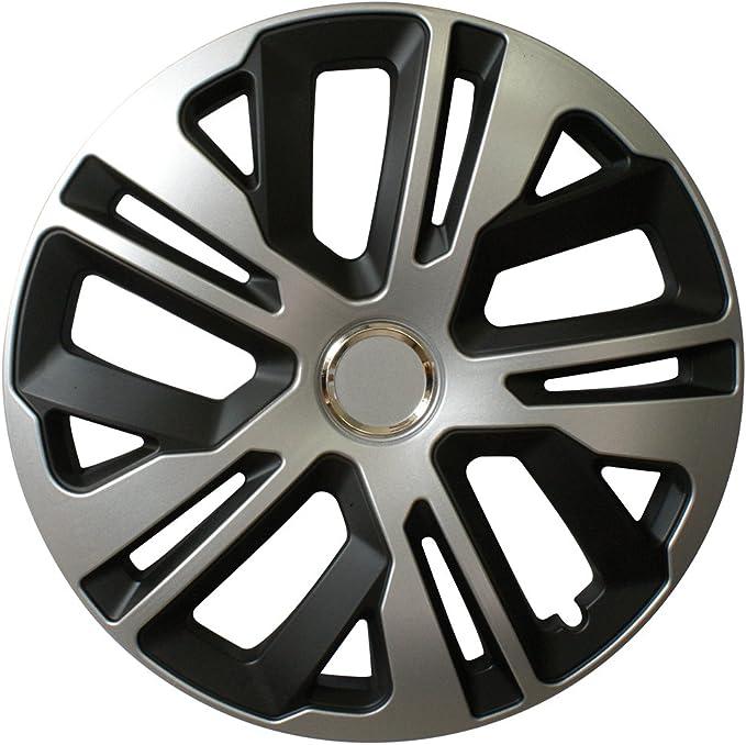 Cora 40147 4 Aluminium-Effect Top Ring Hub Caps 17 Inches