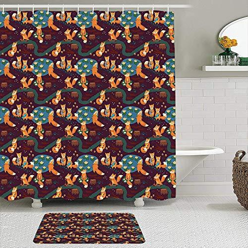 TARTINY 2-teiliges Duschvorhang-Set mit rutschfesten Teppichen,Kleine Waldtiere jagen Meditieren & Essen im Dschungel mit Teichen Baumstämme mit 12Haken,rutschfeste Badematte