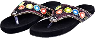 Indian Handicrafts Export Women Resham & Zari Work Fancy Comfortable Velvet Flat Slipper