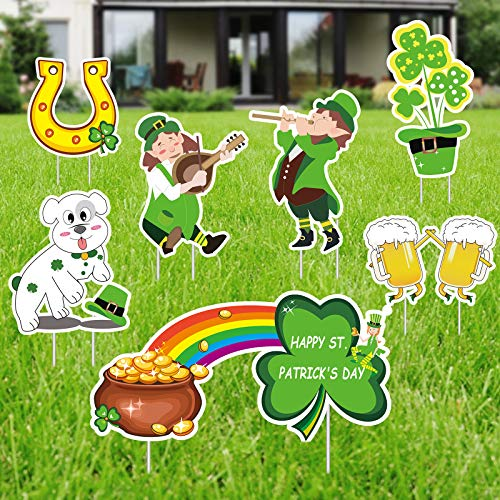 Flagicon 8PCS St. Patrick's Day Yard Sign Outdoor Lawn Decorations, Leprechaun Welcome Signage, Shamrock/Irish Saint Patty's Day Lawn Outdoor Decor with Stakes