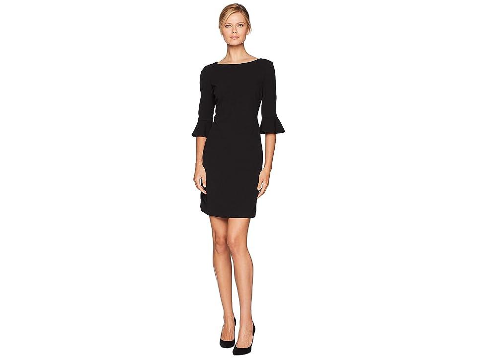 Nine West Drapey Crepe 3/4 Ruffle Sleeve A-Line Dress (Black) Women