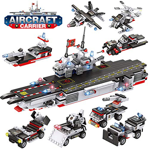 WishaLife City Police Giant Army Aircraft Carrier Battle Group Building Kit, Military Battleship Model Building Set with Solid Hull and Deck with Storage Box for Boys Girls 6-12 (1712 Pieces)