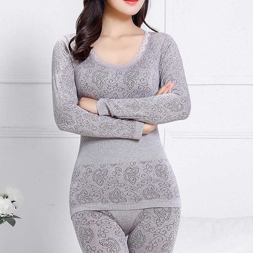 Jiecikou Women's Cotton Thermal Underwear Long Johns Set Soft Elastic O Neck Top and Legging Set