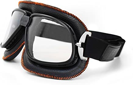 1ff6e18e13e Bertoni Vintage Motorcycle Goggles in Black Leather and Orange Stitching  with Anticrash Lenses By Bertoni Italy