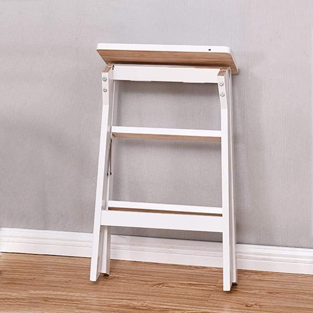 WANGXIAOYUE Escabeau 3 Escabeau Tabouret Marchepied, Cuisine Ménage Pliant Ladder Salon Tabouret Ladder Chaise Portable Banc (Color : Wood Color) White