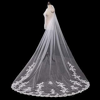 Women Bridal Veil 1 Tier Bridal Cathedral Long Veils Lace Applique Edge Wedding Veil With Comb Headpieces For Brides 0606 ...