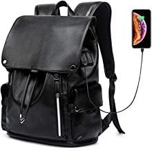 KISSUN Business Travel Backpack, PU Leather Laptop Backpack with USB Charging Port for Men Womens, Anti-Theft Water Resistant College School Bookbag Computer Backpack Fits 15.6 Inch Laptop & Notebook