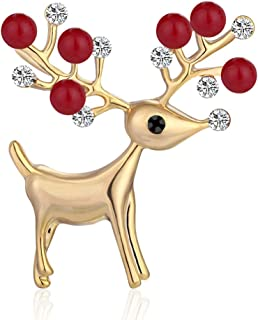 Amosfun Christmas Creative Brooch Alloy Sika Deer Imitation Pearl Rhinestone Brooch Breastpin Fashion Badge
