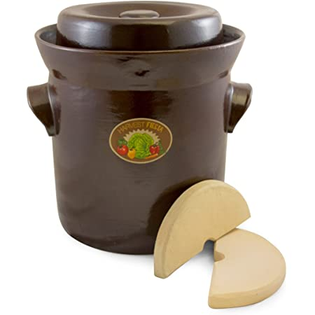 Amazon Com Tsm Products Harvest Fiesta Fermentation Pot With Stone Weight 10 Liter Condiment Pots