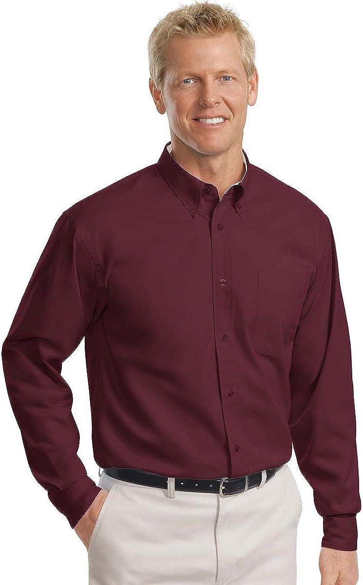 Port Authority Tall Long Sleeve Easy Care Shirt-XLT (Burgundy/Light Stone)