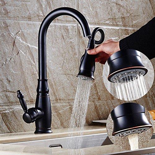 S.TWL.E Küche Küchenarmatur Waschtischarmatur Mischbatterie Spülbecken Armatur Wasserhahn Bad Schwarz Retro zugänglich Drop Down heißen und kalten Voll Kupfer Spüle Drehen