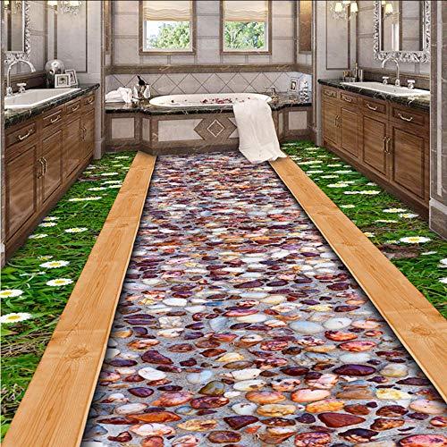 Pbbzl Fotobehang op 3D-vloeren voor muren, roll gras wild, bloem, stone road, badkamermeubels, waterdicht 250x175cm