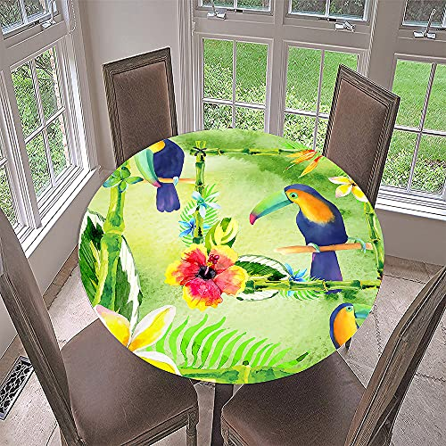 Fansu Round Tablecloth Waterproof Wipe Clean, Circular Tablecloths Fitted Elastic Edged, Stain Resistant Polyester Table Cover for Dinning Room Kitchen Picnic Party (Green leaf,Diameter 150cm)