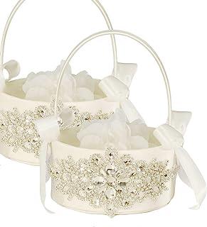 bridal gift basket Flower Wedding lace basket Ring Bearer Flower Basket Set blush Flower Girl Basket gold Outdoor Wedding Gift wedding ideas