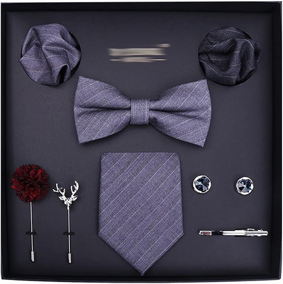 TTKD Tie Set for Men 8cm Necktie Pocket Square Silk Tie Handkerchief Cufflinks Tie Clip&Brooch Set (Color : C)