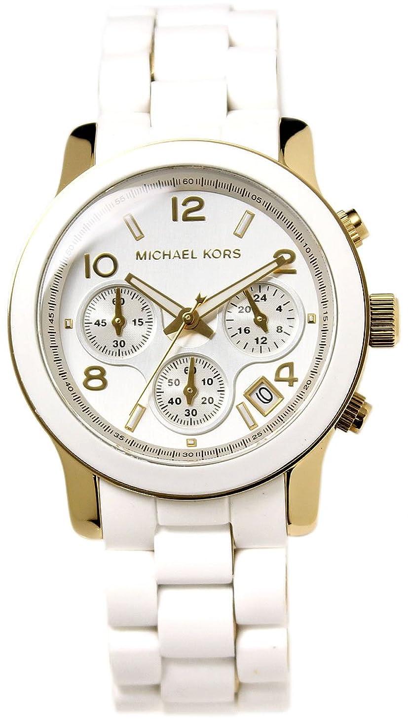 見通し邪悪なリスト[マイケルコース]MICHAEL KORS 腕時計 クロノグラフ シルバー×ホワイト×ゴールド ラバーベルト MK5145 レディース [並行輸入品]